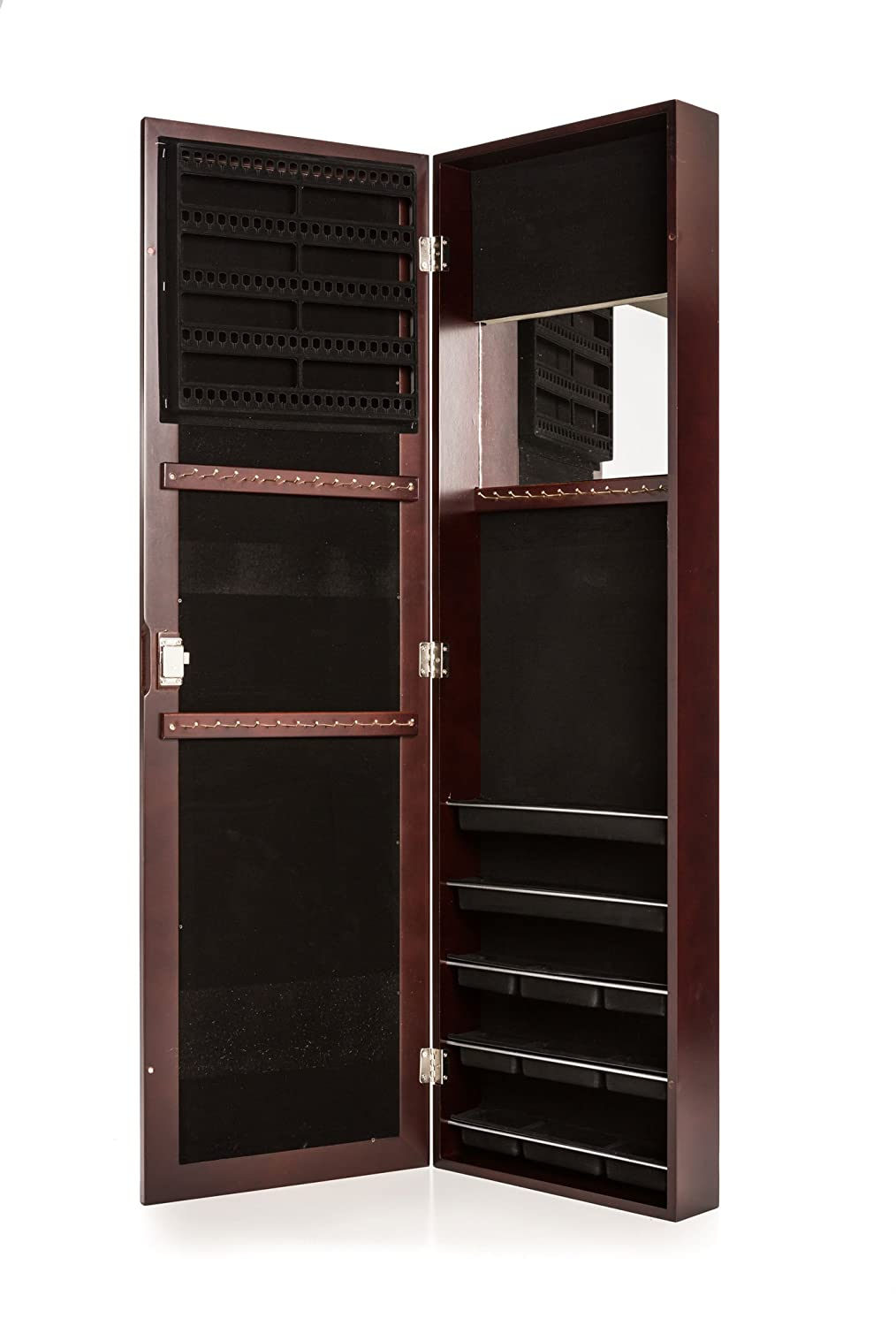 Amazon.com: Locking Jewelry Armoire With Mirror   Wall Mount Or Hanging  Over The Door By Perfect Life Ideas   Cherry: Home U0026 Kitchen
