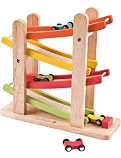Vytung Wooden 8 Level Ramp Race with Small Ramp Racer Track Ramps Car for Toddlers Boys Kids Children