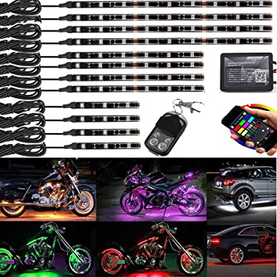 12Pcs Motorcycle LED Light Kit Strips Multi-Color Accent Glow Neon Lights Motorcycle Cellphone app waterproof Bluetooth Controller with Wireless remote led motorcycle atv club car lights Music Sync: Automotive
