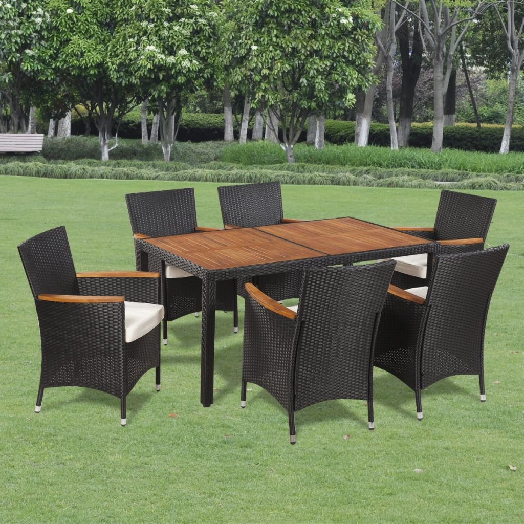 Festnight 7PCS Outdoor Garden Dining Set Poly Rattan, Wicker Dining Table and Chairs with Soft Cushions Black
