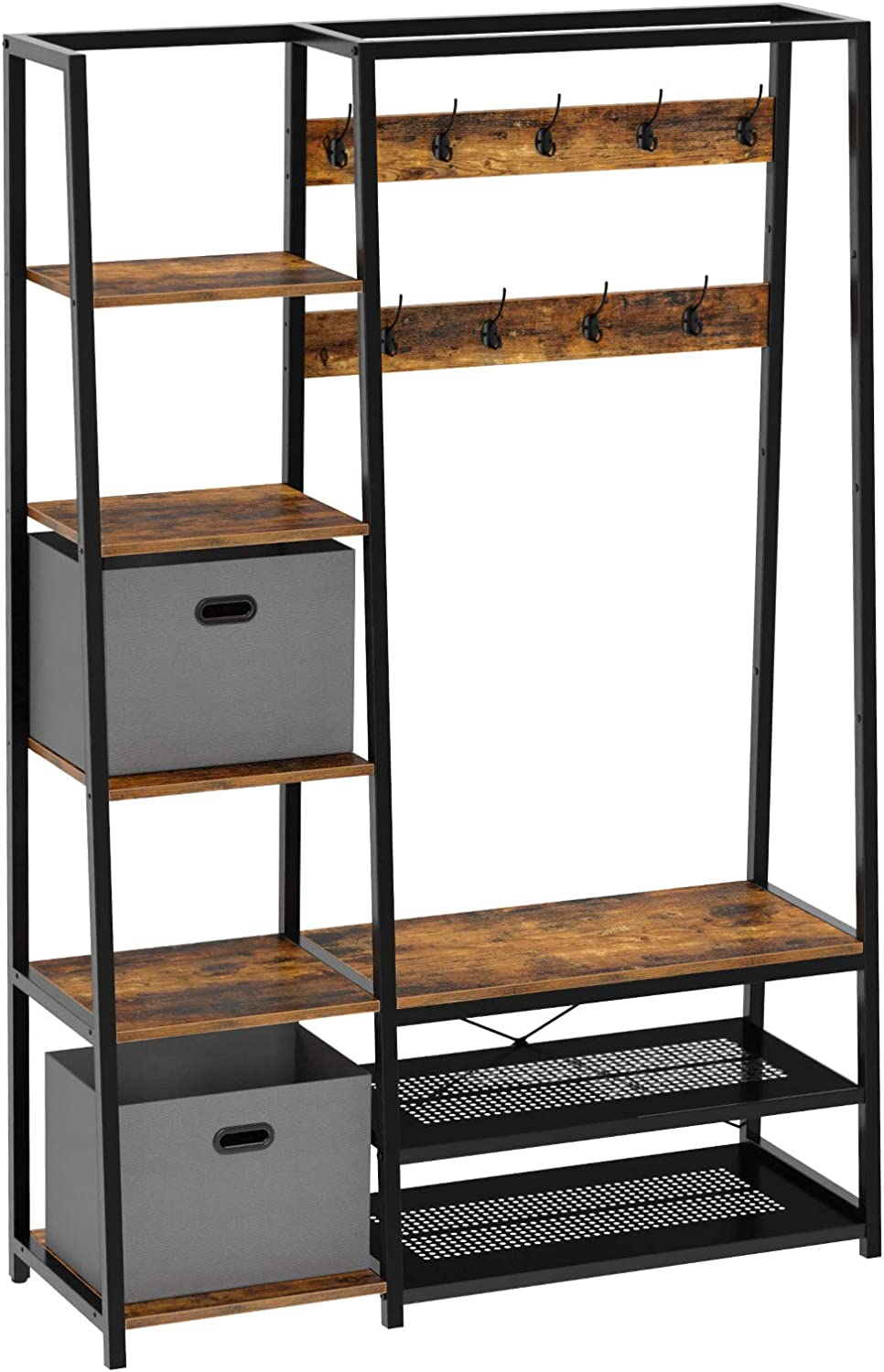 Rolanstar Hall Tree with Side Storage Shelves, Entryway Hall Tree with Shoe Bench and Coat Racks and 2 Foldable Cube Storage Bins,for Entryway, Bedroom, Sturdy and Easy Assembly