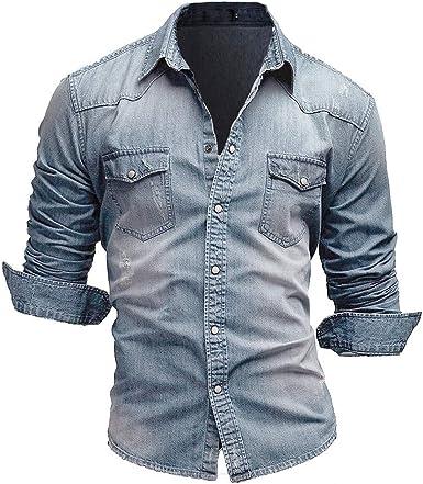 Jiayuan Camisa Vaquera Camisa Vaquera de algodón para Hombre Moda Primavera y otoño Camisa Vaquera Delgada de Manga Larga Moda Lavado Slim Top 3XL: Amazon.es: Ropa y accesorios