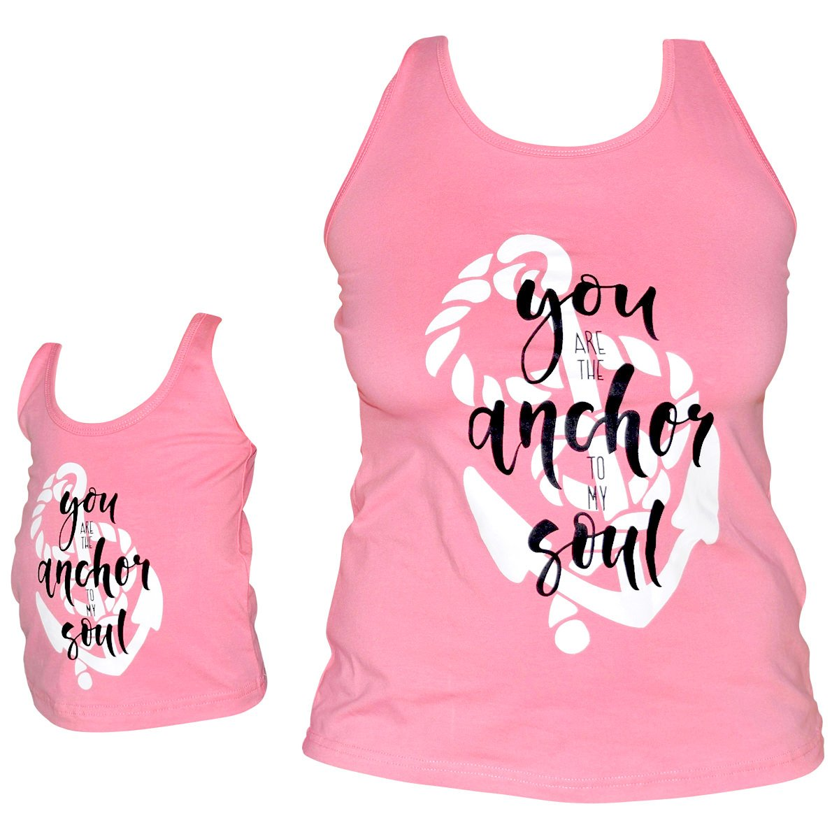 Unique Baby Girls Mommy & Me Racerback Anchor Tank Tops (7/XXL, Pink)