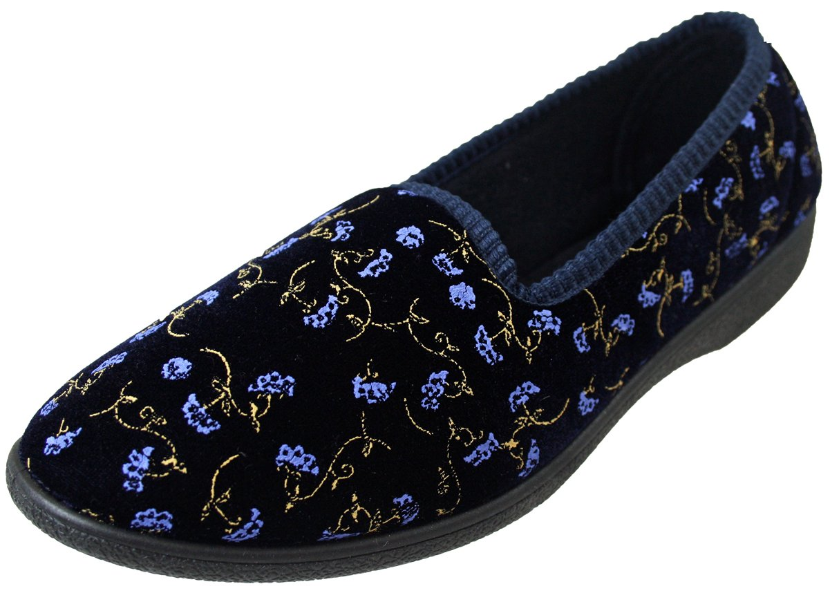 Four Seasons Joan Damen Komfortable Blumen Pantoffel Marine EU 39