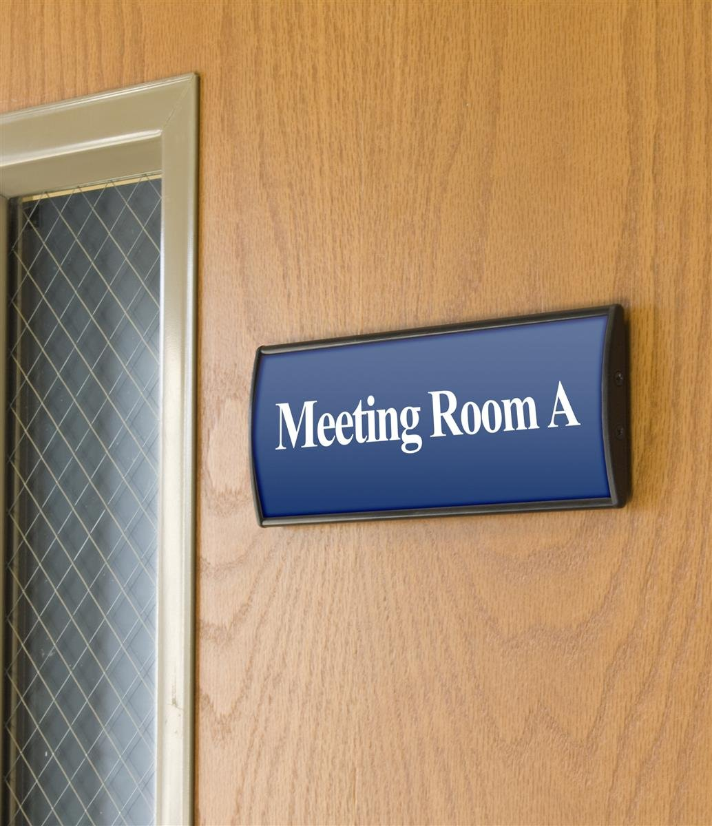Displays2go Set of 5, Office Sign Holders for Wall Mount, Curved Name Plate Frames for 3 x 8 Inches Signage, Includes Double-Sided Adhesive for Mounting, Aluminum, Black (WCSBK38)