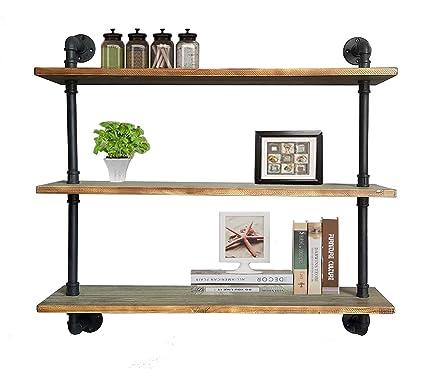 Diwhy Shelves Industrial Shelf With Pipe Diy Retro Wall Mount Iron Pipe Shelf Storage Shelving Bookshelf 36 Dia 25mm Black