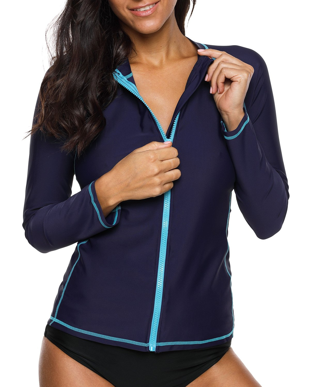 V for City Women's Long Sleeve Rash Guard UPF 50+ Zip Bathing Suit Tops Rashguard UV Swim Shirt Navy XL