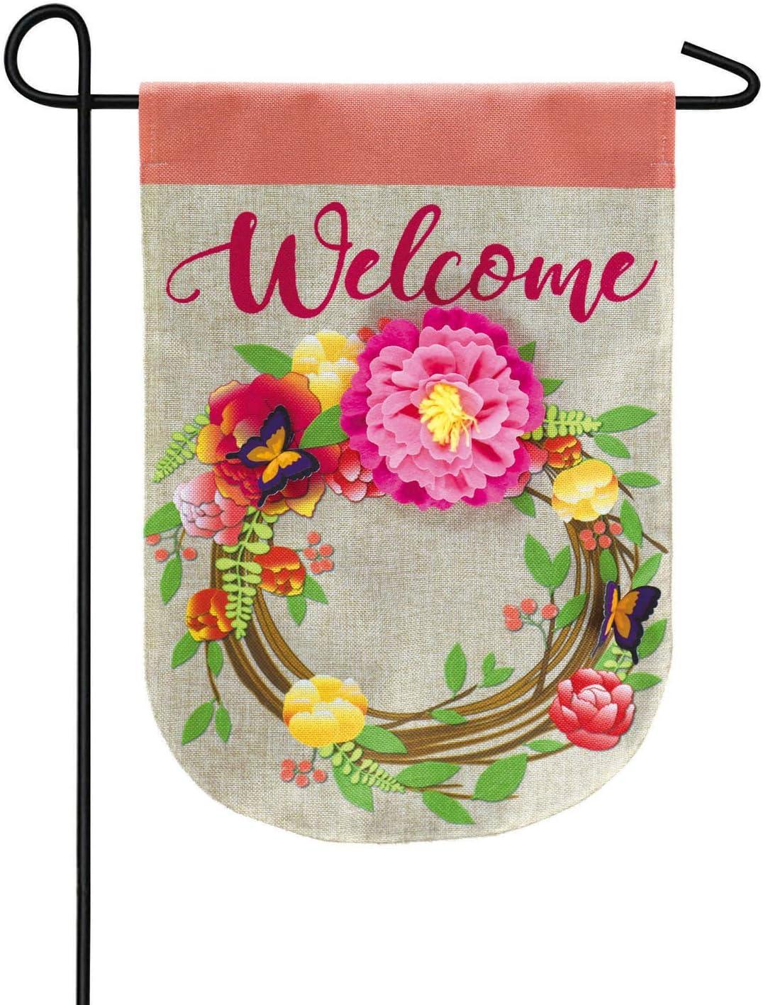 Floral Wreath Garden Burlap Flag - 13 x 1 x 18 Inches