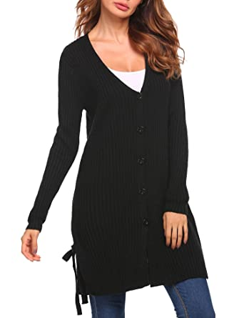 e87c66c544 Zeagoo Women s V-Neck Button Down Knitwear Long Sleeve Soft Basic Cardigan  Sweater