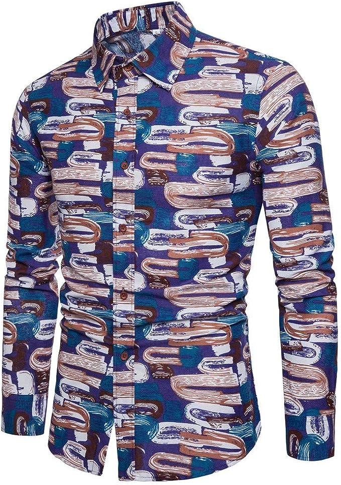 Camisas para Camisa De Manga Larga Impresa Casual para Hombre Joven.: Amazon.es: Ropa y accesorios