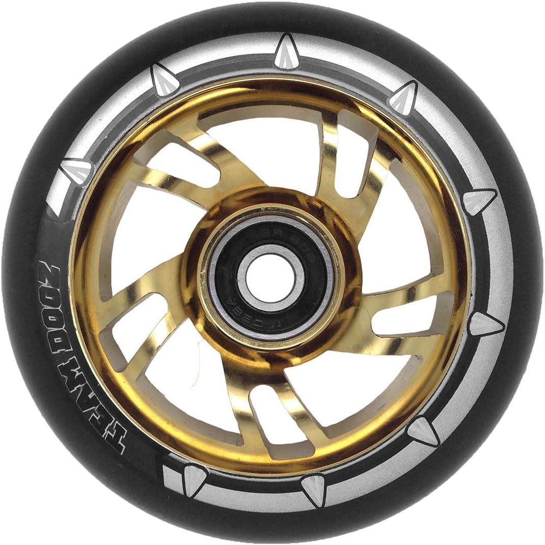 Pro Swirl schwarzes Polyurethan Team Dogz 100 mm gr/üner Aluminiumkern Tretroller-R/äder