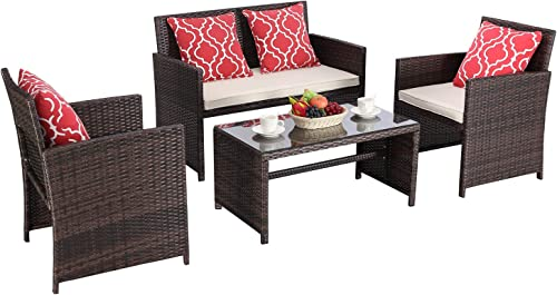 HTTH 4 Piece Outdoor Patio Furniture Sets Wicker Sofa