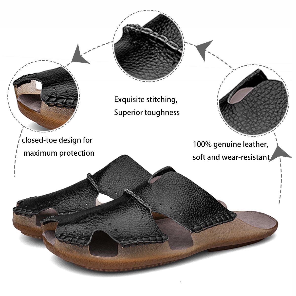 brand new 95ed8 79942 Aliwendy Sandalias de cuero para hombre Diapositivas ocasionales  antideslizantes Deportes al aire libre Verano Playa cerrada Zapatos para el  dedo del pie ...