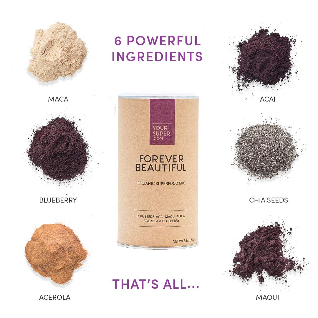 Your Superfoods Organic Vegan Forever Beautiful - Acai Berry w Chia Seeds Superfood Anti-Aging Supplement Vitamin A C & E Smoothie Mix - For Hair Skin Nails - High in Antioxidants Repairs Cell Damage