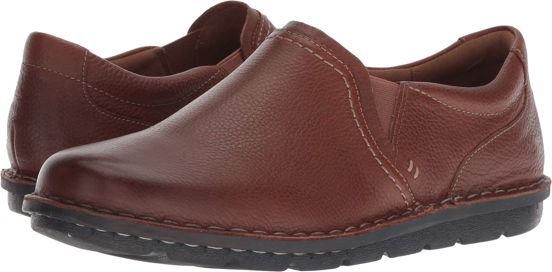 CLARKS Women's Janice Barrie Loafer, Dark tan Leather, 100 W US