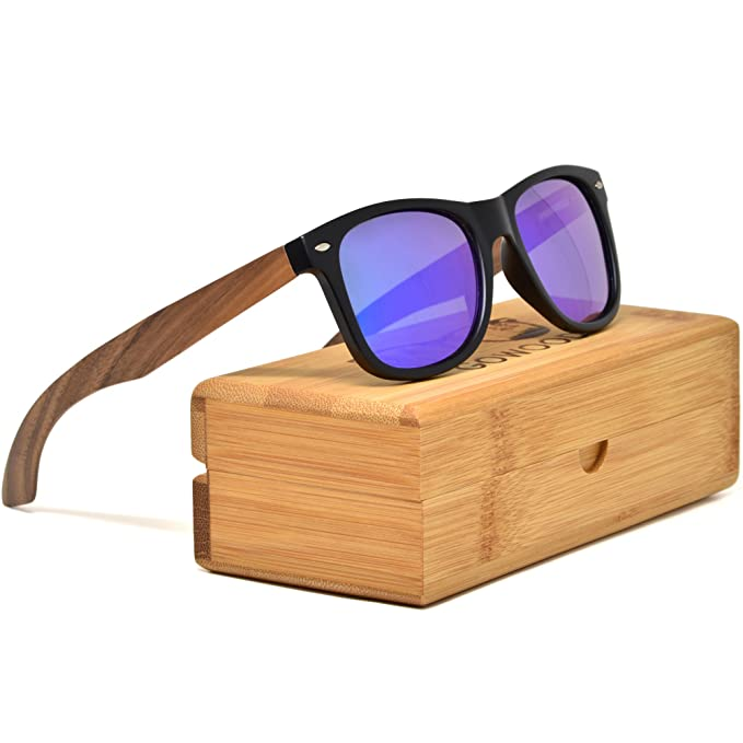fef230796cfc Walnut Wooden Mens and Womens Sunglasses with Matte Black Front and Blue  Mirrored Polarised Lenses  Amazon.co.uk  Clothing
