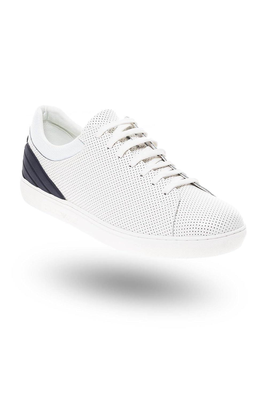 6d6e4bb5c0 Emporio Armani Low Top Calf-Leather Trainer White: Amazon.co.uk ...