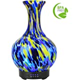 COOSA 100ml Glass Vase Aromatherapy Essential Oil Diffuser with 4 Time Setting Modes and 7 Color Changing LED Lights Cool Mist Humidifier Waterless Auto Shut-off for Home Office Bedroom Living Room