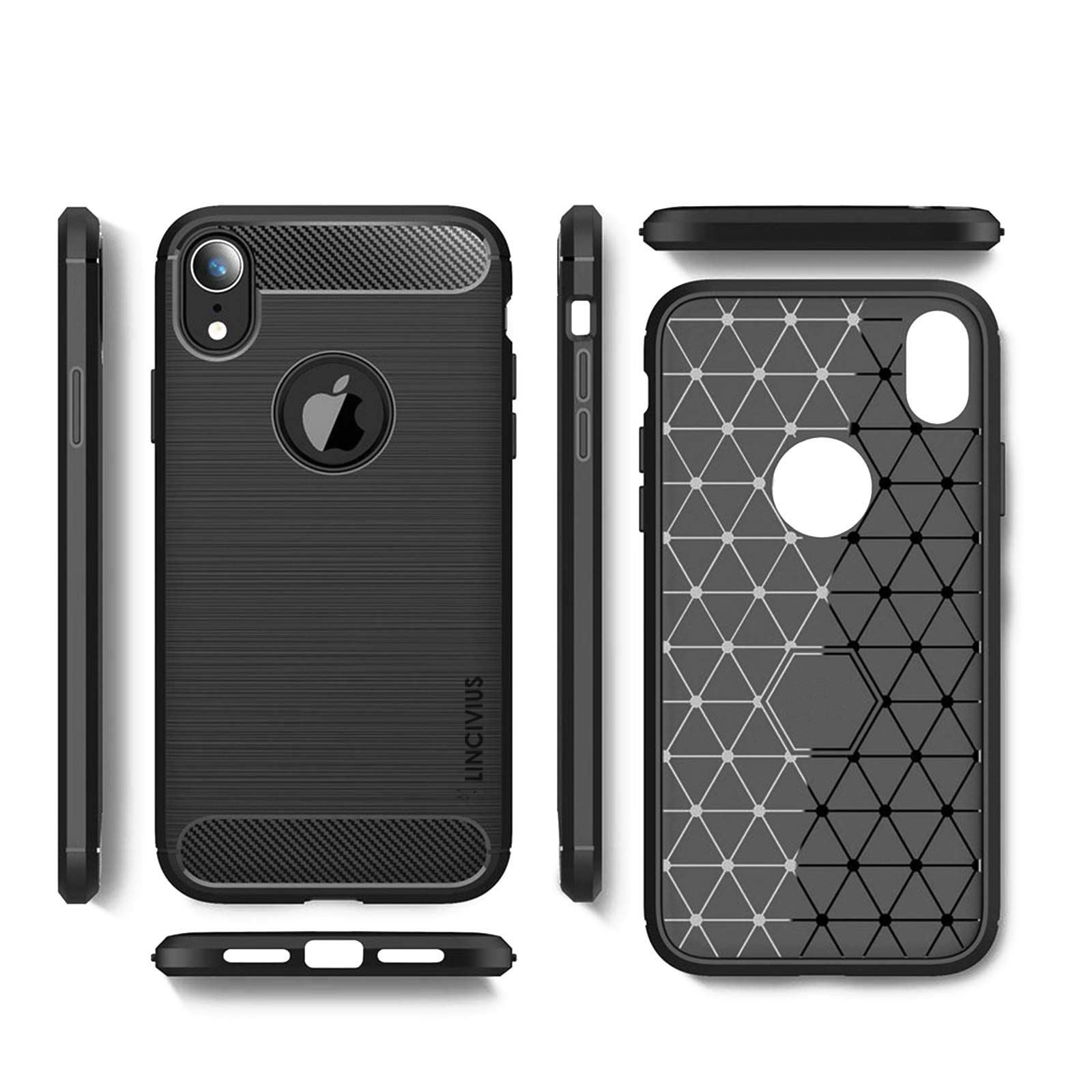 LINCIVIUS  Coque Apple iPhone XR [TPU Brushed Carbone] Protection Coque Carbon iphone XR Housse Etui Accessoires Silicone Souple Hybride Design Anti Choc