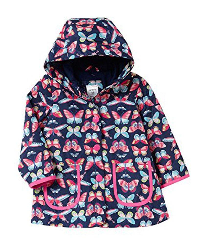 Carter's Big Girls' Her Favorite Rainslicker Rain Jacket (7/8, Navy Butterfly)