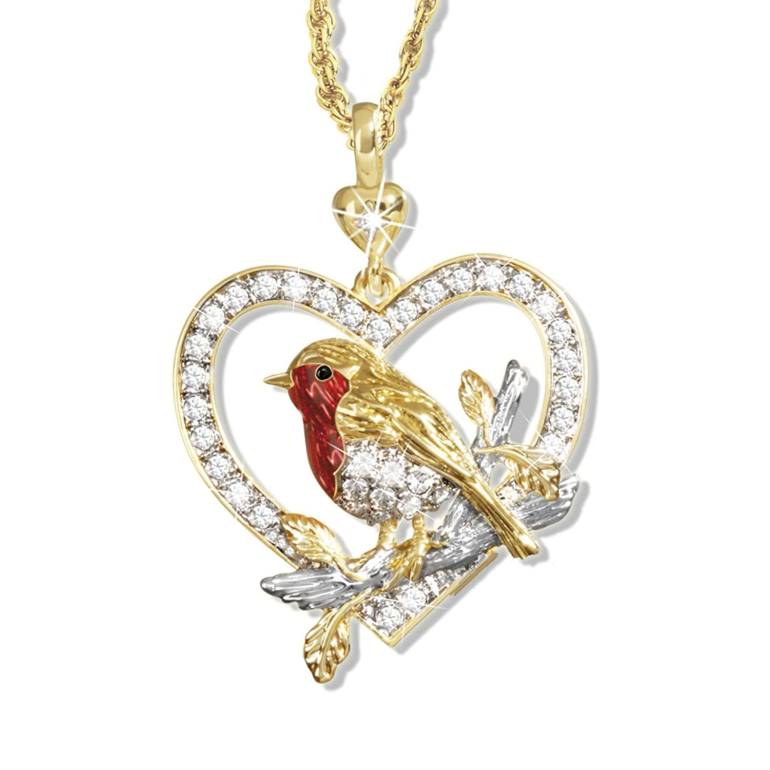 'Jewel Of Nature' Swarovski® Crystal Robin Pendant Plated In Rich 24-Carat Gold, And Showcasing Lustrous Enamel And A Genuine Diamond Exclusively Available From The Bradford Exchange 5060460218563