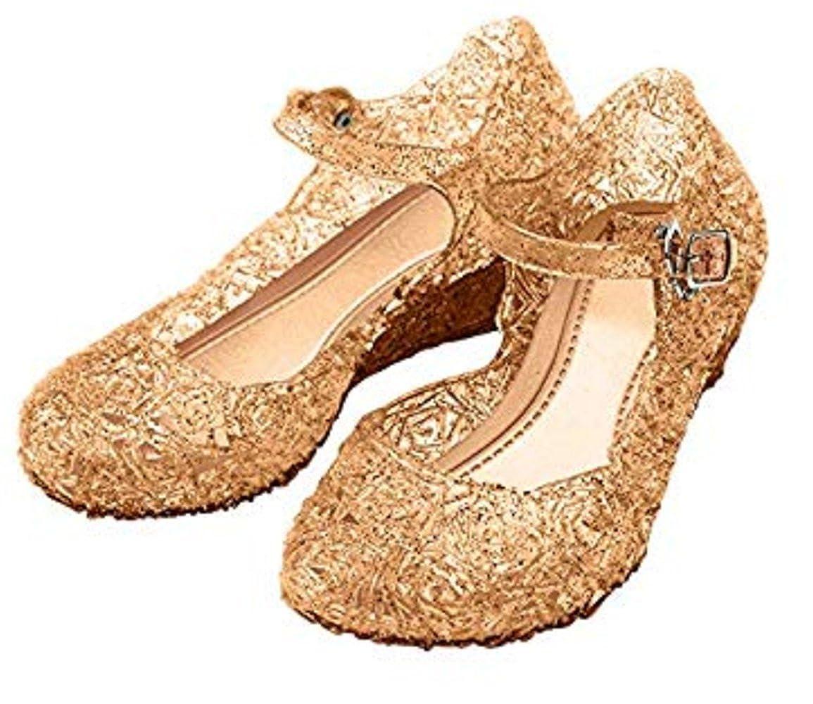 YOGLY Sandale Princesse Fille Ballerines à Talon pour Enfant Déguisement Chaussures de Princesse EU25-EU37