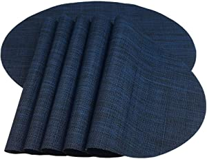 Red-A Placemats, Imitation Bamboo Oval Woven Vinyl Heat Resistant Placemats Washable Table Mats for Kitchen Table. (Set of 6, Navy Blue)