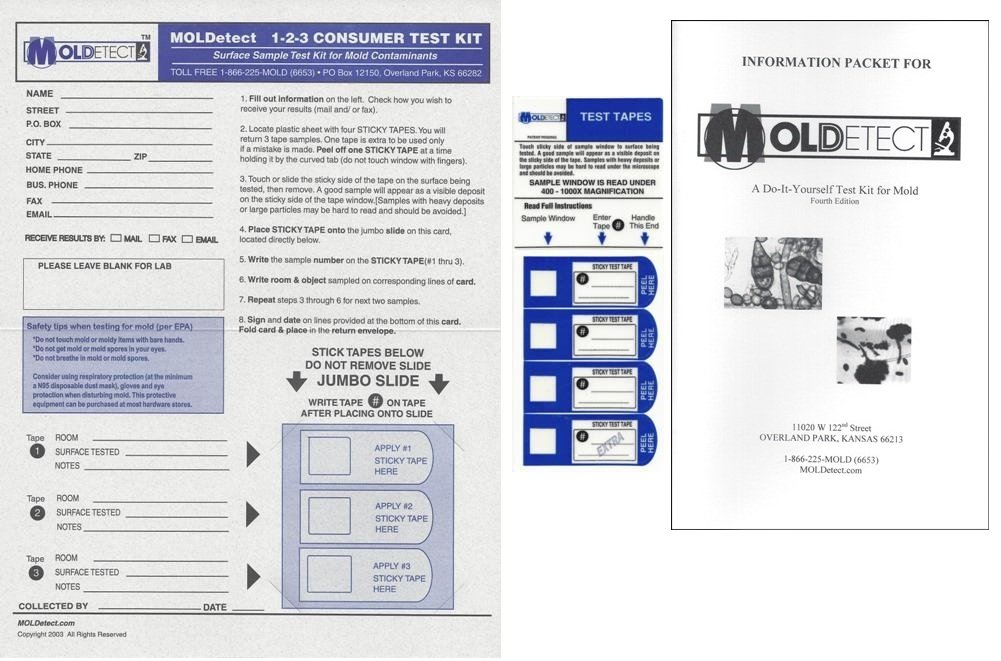 MOLDetect Three Sample Mold Test Kit W/ Accredited Analysis and Consulting