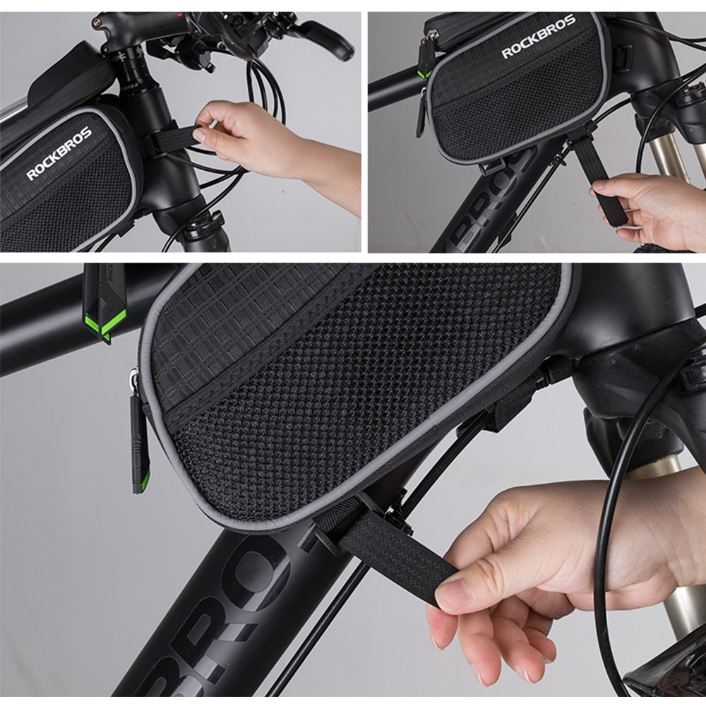 Bike Frame Bag Water Resistant Cycle Top Tube Pannier With Rockbros A 008 Handlebar Front Waterproof 3 4l Tpu High Sensitive Touchscreen Bags Phone Holder For Iphone X 8 Plus Samsung