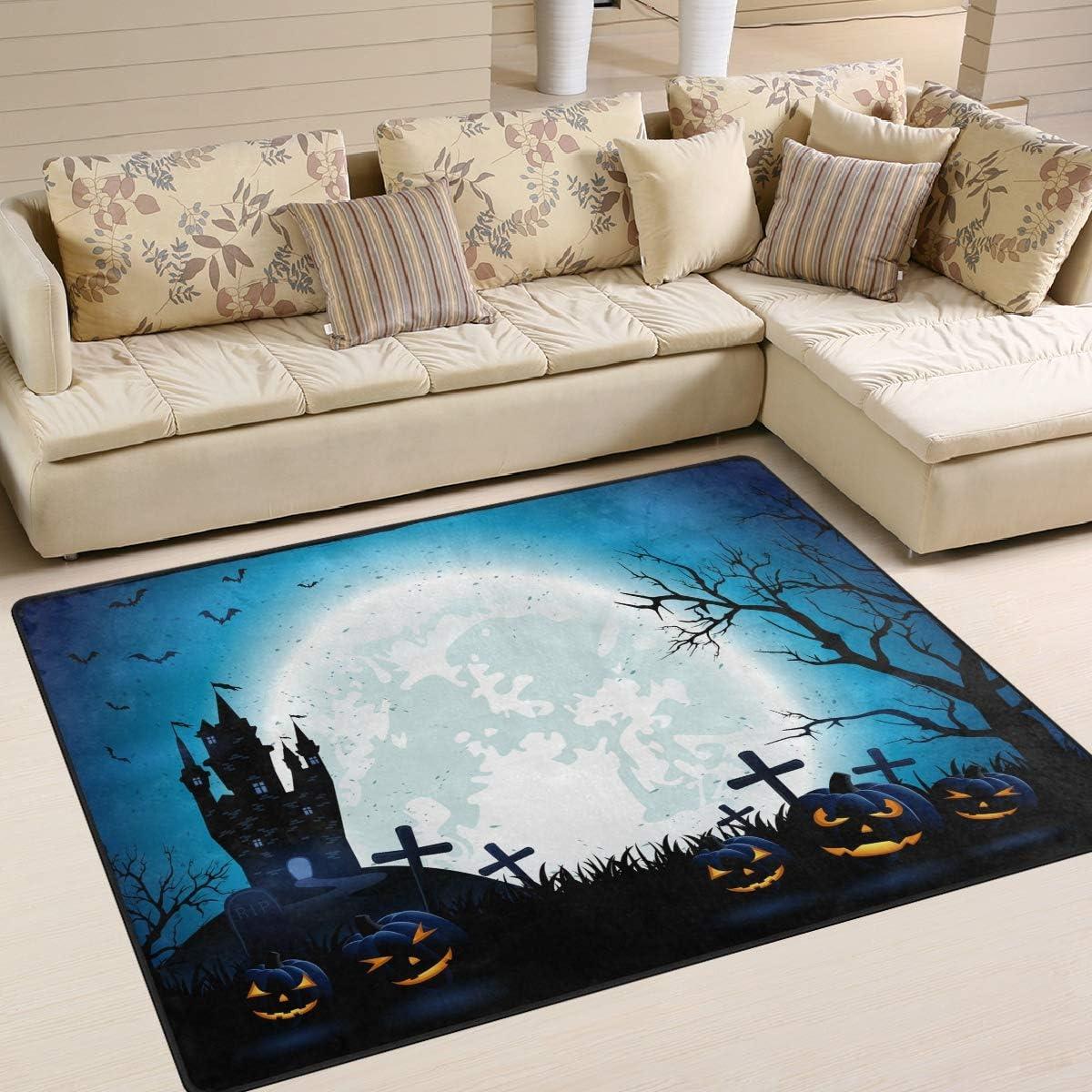 Mnsruu Halloween Moon Night House Forest Bat Pumpkin Area Rug Rugs For Living Room Bedroom 203cm X 147 3cm 7 X 5 Feet Amazon Co Uk Kitchen Home