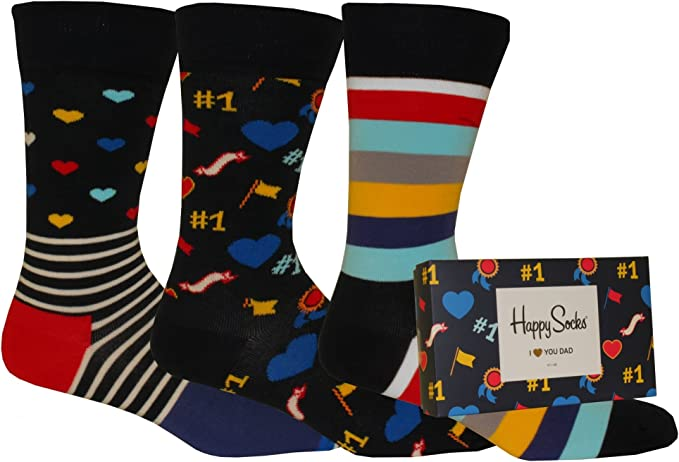 Happy Socks I LOVE YOU DAD Calcetines, multicolor, Large (Pack de ...