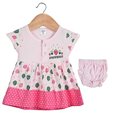 84af0988b6e577 Toonyport Infant Strawberry Print Girls Frock Pink Dress 100% Cotton Fabric  Baby Casual Wear Size