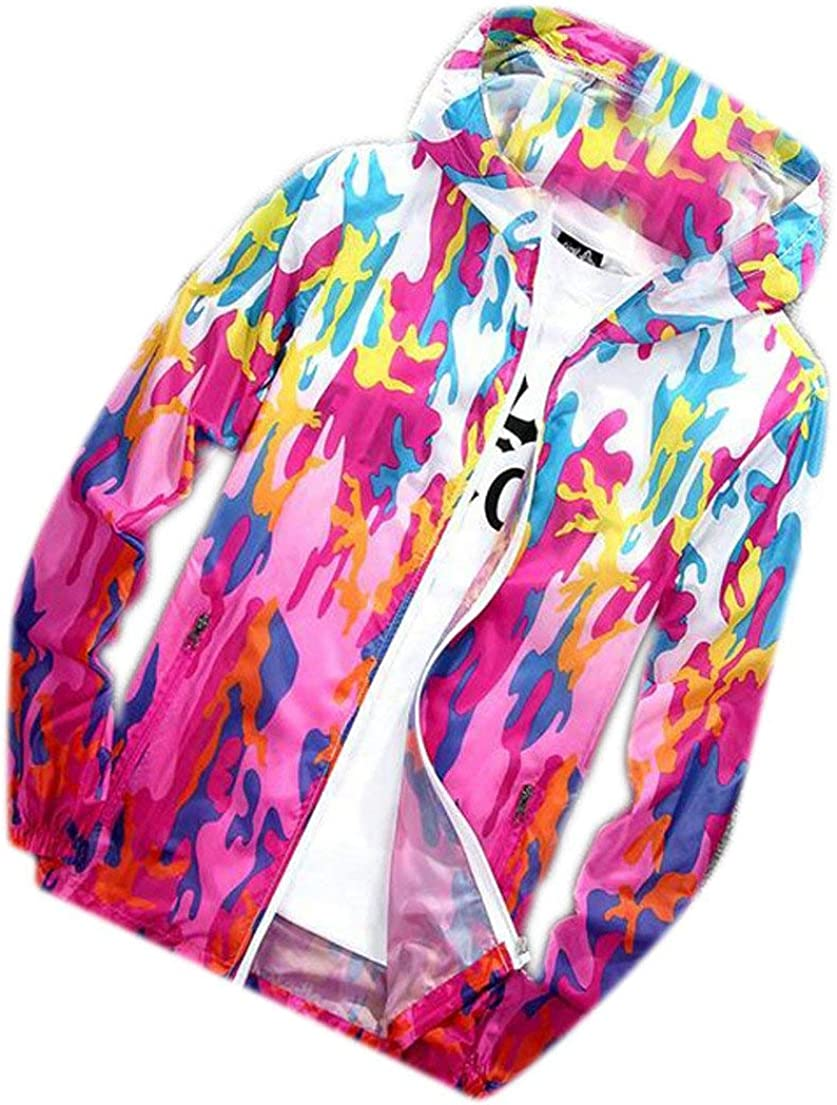 JWK Womens Waterproof Skin Rain Coat Windbeaker Camo Outerwear Jacket Red Small