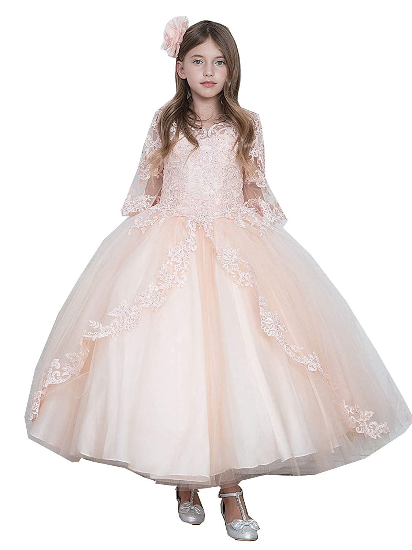 Calla Collection Big Girls Blush Pink Floor Length Flower Girl Dress 7-16