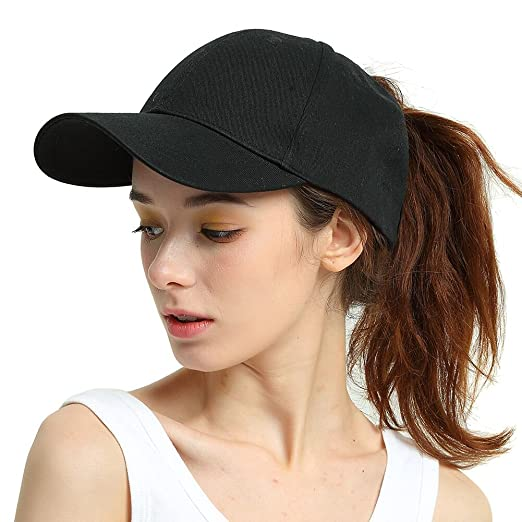 Womens Ponytail Baseball Hat Messy High Buns Ponycap Plain Cotton Dad Hat  for Girls fada0f9e6e4