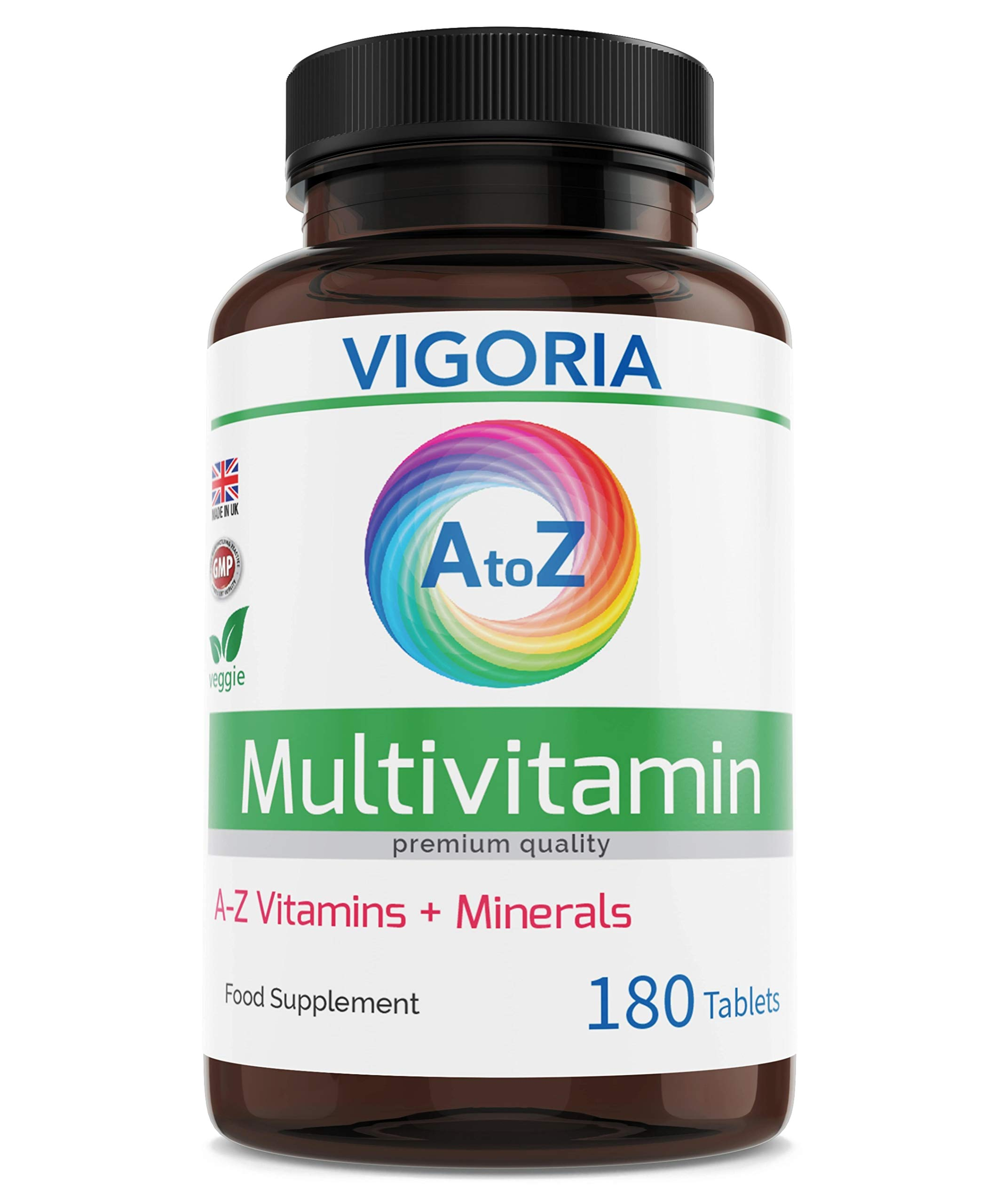 Multivitamin + Minerals A-Z Advance for Energy General Health and Wellbeing - Immune System Brain and Bone Health - Balanced Vitamin Complex for Men and Women Non-GMO - 180 Tablets - Made in The UK