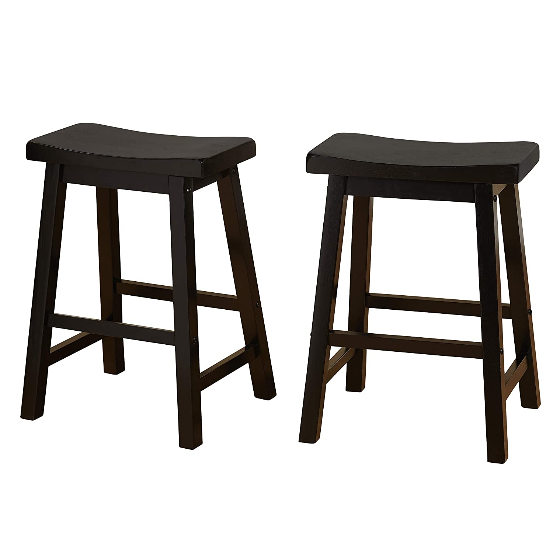 Target Marketing Systems Set of 2 24-Inch Belfast Wooden Saddle Stools, Set of 2, Black