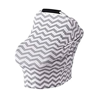 Stretchy Carseat Nursing Cover Grey Wave, Premium Soft Breathable 5 in 1 Nursing Cover Breastfeeding Scarf - Baby Car Seat Covers, Infant Stroller Cover, Carseat Canopy for Babies