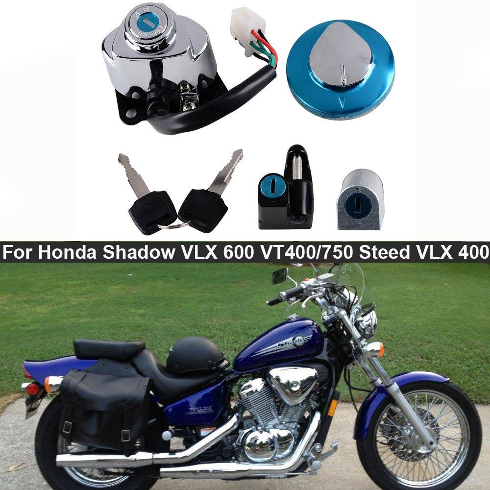 Amazon.com: Set Ignition Gas Cap Steering Locks + Keys Fit Honda Shadow VLX  600 VT600 VT400 VT750 Steed VLX400 (Selected): Automotive