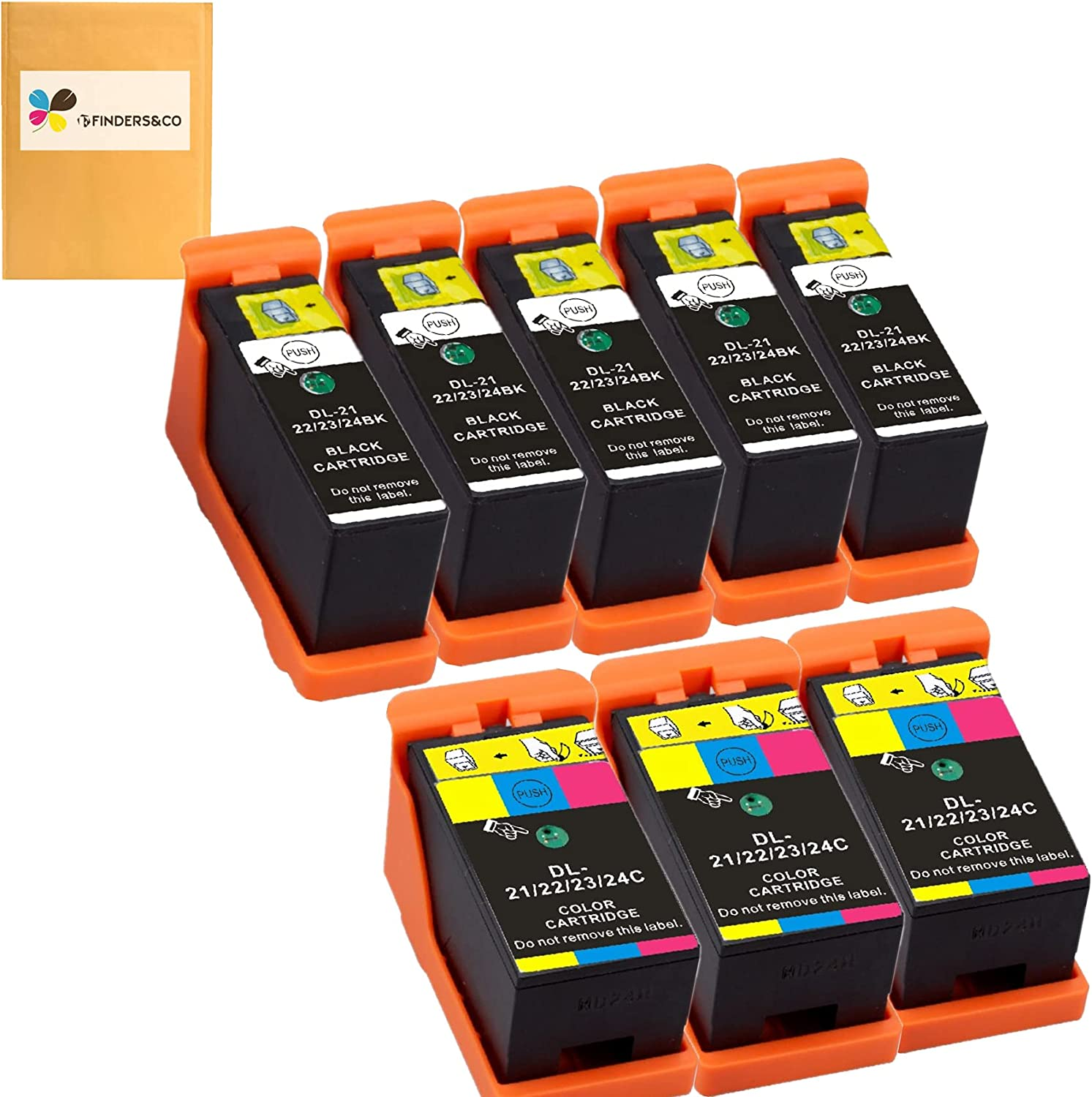 8-Pack Compatible Dell Series 21 Ink Cartridges Replacement for DELL V313W V515W P513W P713W V715W Printer (5BK, 3Color)