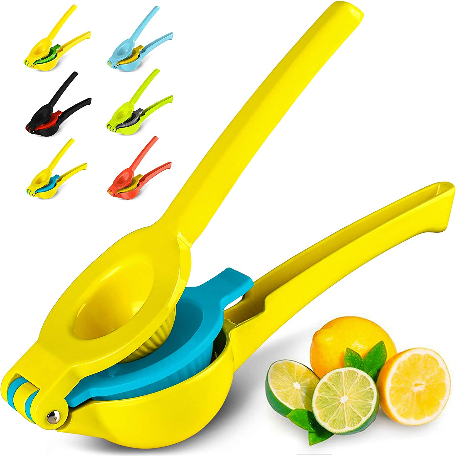 Top Rated Zulay Premium Quality Metal Lemon Lime Squeezer - Manual Citrus Press Juicer (Vibrant Yellow and Blue Atoll)