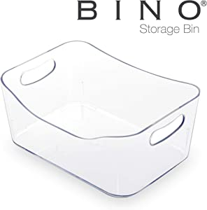 BINO Refrigerator, Freezer and Pantry Cabinet Storage Organizer Bin with Handles, Small - Clear and Transparent Plastic Wide Nesting Food Container for Home and Kitchen