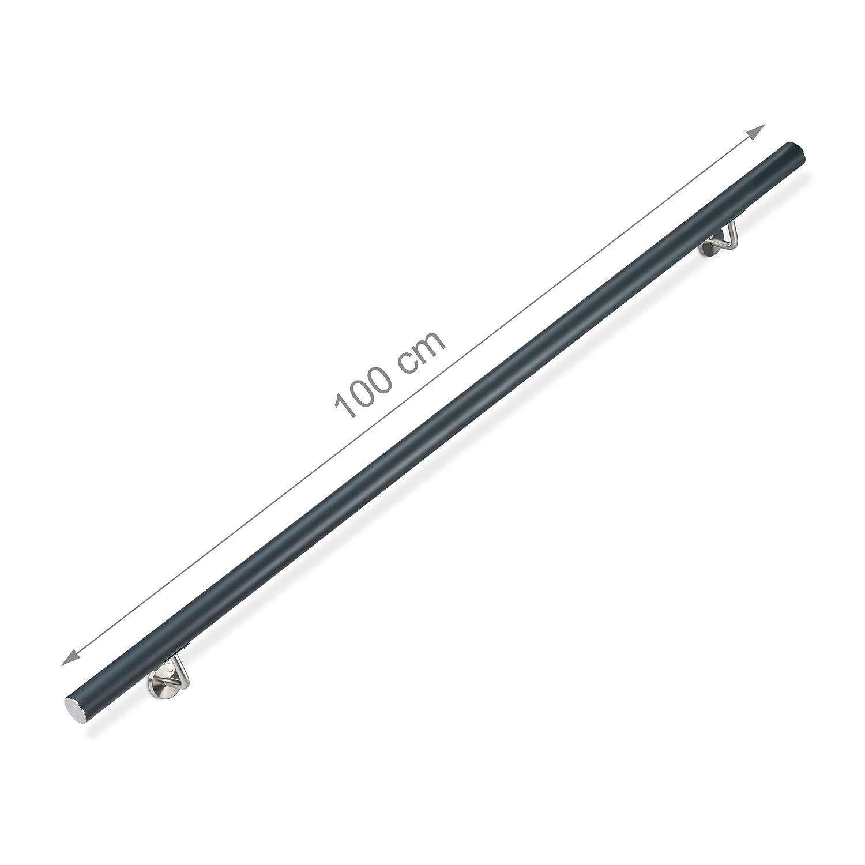 Anthracite Escalier Aluminium 100 cm /Ø 42mm INOX int/érieur m/étal Main Courante Ronde Relaxdays 10026021/_631 Rampe 12 x 100 x 8 cm