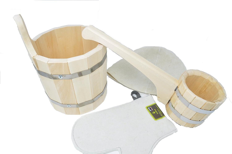 Assortiment accessoires pour Sauna ou Bania Russe Gant pour sauna Bonnet pour sauna Seau en bois 0.5 l 5 litres Louche en Bois