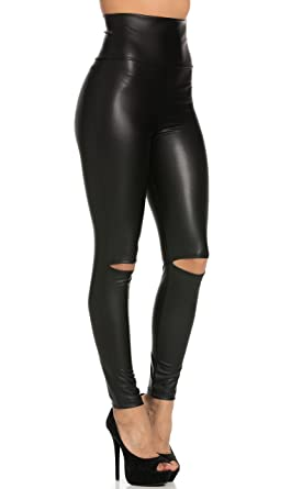 Super High Waisted Knee Slit Faux Leather Leggings in Black (Plus ...