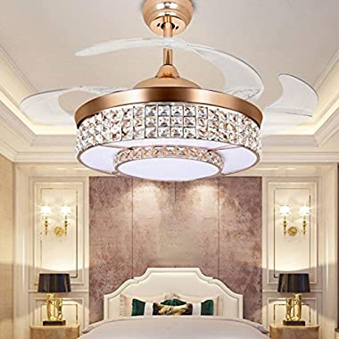 TTipton Light Ceiling Fans 42 Inch 4 Retractable Blades LED Ceiling Fan Crystal Chandelier with Remote Control has Three Change Colors White Light,Warm Light,White Warm Light-Gold