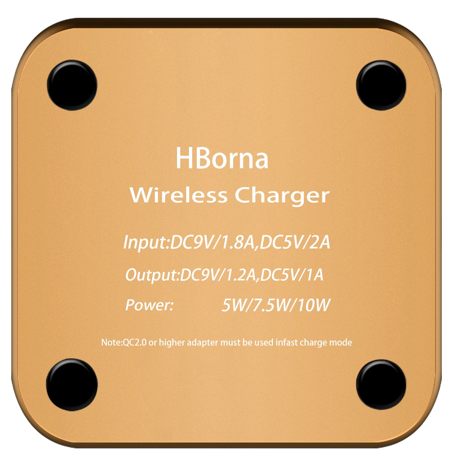 HBorna Wireless Charger with Ultra-thin Aluminum Alloy Mirror Covering,7.5W for iPhone X 8/8Plus,10W Fast Charging for Galaxy S6/6+ S7/S8 Note5,5W for All Qi Enabled Phones (No AC Adapter) (Gold)