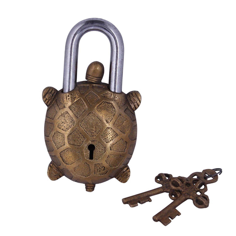 10278 Purpledip Tortoise Shaped antique Handcrafted brass padLock for Security Padlock/_016