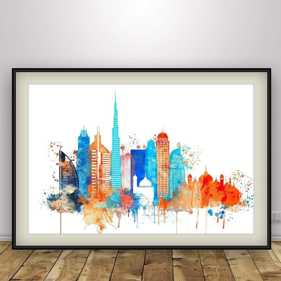 Dubai Watercolour City Skyline Wall Art Print Poster Home Decor Picture