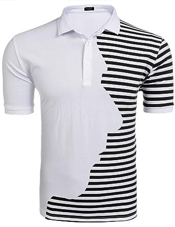 Coofandy Polo Rayado de Cara Hombre Camiseta Casual Patchwork ...